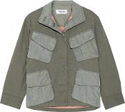 Tim Coppens , Shell Paneled Stretch Cotton Jacket Army Green