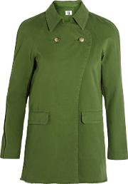 Topshop Unique , Badgemore Cotton Drill Jacket Green