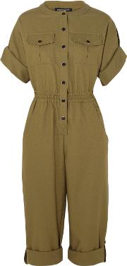 Vanessa Seward , Bacan Woven Cotton Jumpsuit Army Green