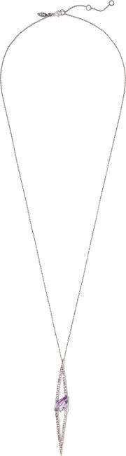 Alexis Bittar , Silver Tone Crystal Necklace One Size