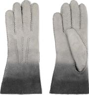 Agnelle , Shearling Lined Ombre Nubuck Gloves Gray