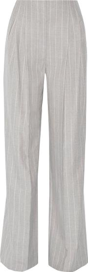 Protagonist , Pinstriped Wool Wide Leg Pants Gray