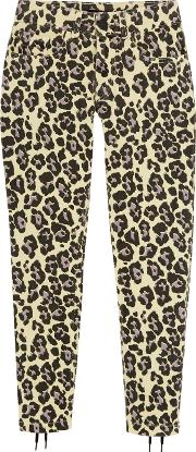 Sibling , Leopard Print Lace Up Mid Rise Slim Leg Jeans Pastel Yellow
