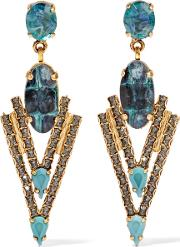 Elizabeth Cole , Constance Gold Tone, Stone And Crystal Earrings Blue