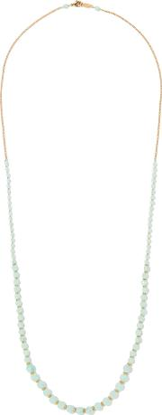 Chan Luu , Beaded Gold Tone Necklace Gray Green