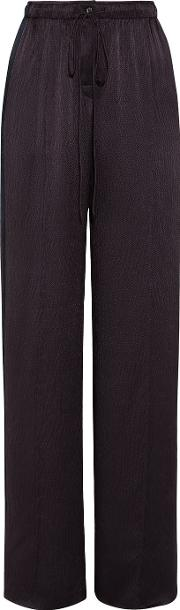 Maiyet , Hammered Silk Satin Wide Leg Pants Dark Purple