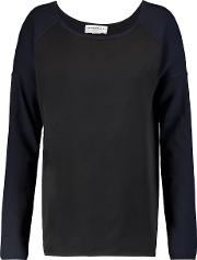 Amanda Wakeley , Paneled Cotton And Cashmere Blend Top Black