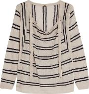Soyer , Baja Striped Linen And Cotton Blend Sweater Beige