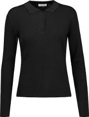 Toteme , Moscow Paneled Ribbed And Stretch Knit Top Black