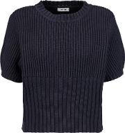 Toteme , Serreval Ribbed Cotton Blend Sweater Midnight Blue