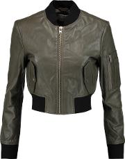 W118 By Walter Baker , Nicole Cropped Textured Leather Bomber Jacket Army Green