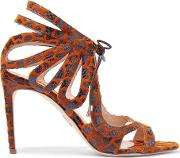 Chelsea Paris , Snake Effect Leather And Chenille Sandals Brown