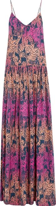 Matthew Williamson , Gathered Printed Silk Crepe De Chine Maxi Dress Fuchsia