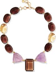 Bounkit , Gold Tone, Crystal And Stone Necklace Chocolate