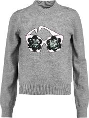 Markus Lupfer , Daisy Sunglasses Sequined Intarsia Knit Merino Wool Sweater Gray