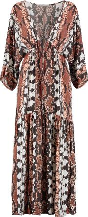 Tart Collections , Camellia Printed Crepe De Chine Maxi Dress Brown