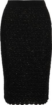 Sibling , Metallic Wool Blend Boucle Pencil Skirt Black