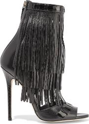 Brian Atwood , Abby Fringed Leather Sandals Black