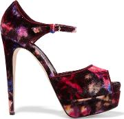 Brian Atwood , Tribeca Printed Suede Sandals Merlot
