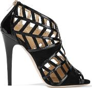 Jimmy Choo , Vector Cutout Patent Leather And Suede Sandals Black