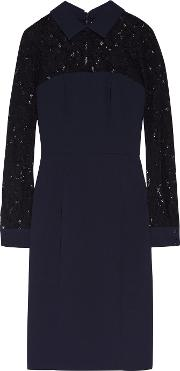 Badgley Mischka , Corded Lace And Crepe Dress Navy