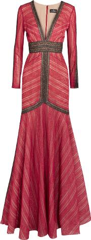 J Mendel , Two Tone Lace Gown Crimson