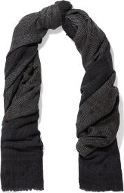 Lily And Lionel , Bailey With Stars Boucle Paneled Wool Blend Scarf Dark Gray