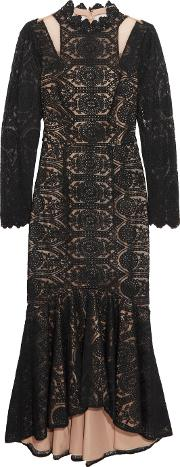 Mikael Aghal , Guipure Lace And Tullle Dress Black