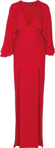 Haney , Karen Cape Back Silk Chiffon Gown Crimson