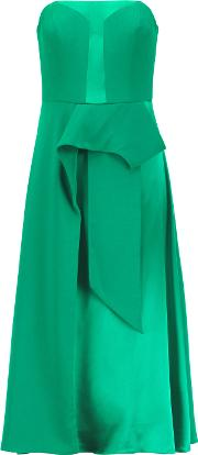 Mikael Aghal , Draped Satin And Crepe De Chine Dress Green