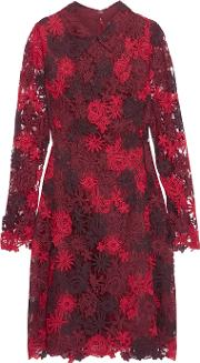 Mikael Aghal , Guipure Lace And Organza Dress Burgundy