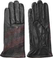 Agnelle , Stitched Leather Gloves Black