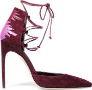 Brian Atwood , Maka Lace Up Leather Paneled Suede Pumps Burgundy