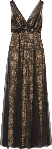 Mikael Aghal , Embellished Tulle Gown Black