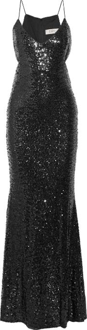 Badgley Mischka , Cutout Sequined Tulle Gown Black