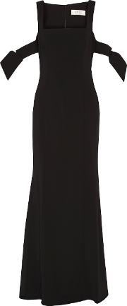 Badgley Mischka , Cutout Stretch Cady Gown Black