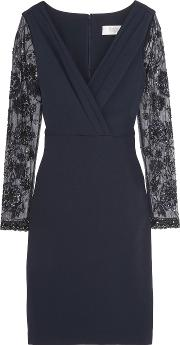 Badgley Mischka , Embellished Tulle And Pleated Crepe Dress Midnight Blue