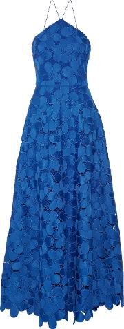 Badgley Mischka , Floral Lace Gown Royal Blue