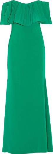 Badgley Mischka , Octopus Off The Shoulder Pleated Cady Gown Jade