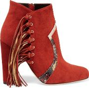 Brian Atwood , Harlow Fringed Elaphe Trimmed Suede Ankle Boots Brick