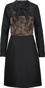 Mikael Aghal , Bow Embellished Lace Paneled Satin Twill Dress Black