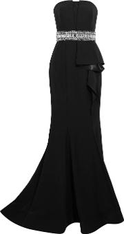 Mikael Aghal , Embellished Ruffled Crepe De Chine Gown Black