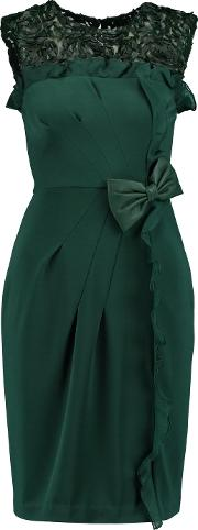 Mikael Aghal , Leather Appliqued Stretch Ponte Dress Emerald