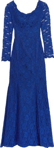 Mikael Aghal , Off The Shoulder Corded Lace Gown Royal Blue