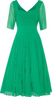 Mikael Aghal , Pleated Georgette Dress Green