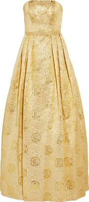Mikael Aghal , Strapless Metallic Matelasse Gown Gold