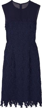 Mikael Aghal , Tulle Trimmed Guipure Lace Dress Navy