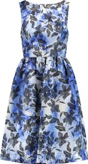 Mikael Aghal , Houndstooth Jacquard Dress Blue