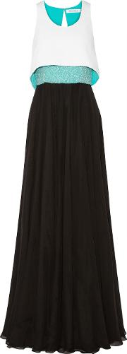 Prabal Gurung , Convertible Beaded Silk Chiffon And Crepe Gown Black