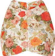 Emilia Wickstead , Joanna Floral Print Cropped Basketweave Top Multi